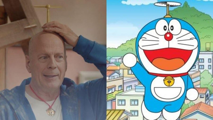 Bruce Willis diventa Doraemon in uno spot