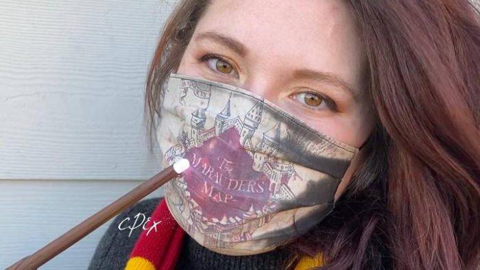 La mascherina con la mappa del Malandrino (Harry Potter)