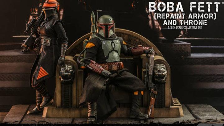 Star Wars The Mandalorian: Boba Fett versione normal e con trono da Hot Toys