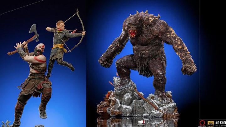Kratos di God of War e suo figlio insieme al terrificante orco di Ogre due statue per realizzare un fantastico diorama da Iron Studios!